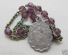 † HTF VINTAGE ST ANN, MOTHER OF MARY VIGRIN PURPLE SLAG GLASS CHAPLET ROSARY  †