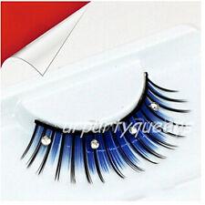 Blue Black Rhinestoned False Fake Eyelashes Eye Lashes Beauty Party Stage Makeup