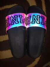 Victorias Secret Pink Holograph Iridescent Logo Crossover Beach Sandals Slides S