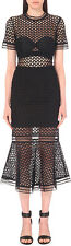 Self-Portrait Arabesque Lace Flounced Dress Midi Length Black Size 10 US 6 New