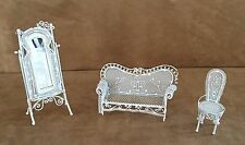Vintage white wrought iron dollhouse furniture lot miniature mirror chair garden