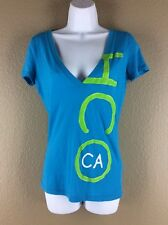 Hollister Hco Size Small Graphic V Neck T Shirt Blue Green Short Sleeve Tee