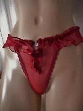 BLOOD RED SHEER RUFFLED NYLON FRONT-HOOK UNLINED  FLUTTER THONG-PANTY L/7