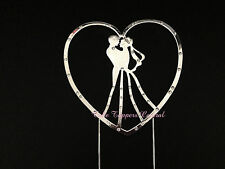 Bride Groom Silhouette Heart Wedding Cake Topper - Discounted Factory Seconds