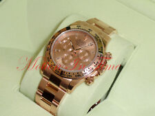 Rolex Daytona 18kt Rose Gold Pink Baguette Diamond Dial Chronograph 40mm 116505