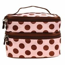 Pink Brown Ladies Travel Beauty Case Makeup Large Cosmetic Set Mirror Bag