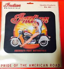 """INDIAN MOTORCYCLE MOUSE PAD ~ """"INDIAN  ON MC"""" ~ 9 1/4"""" x 7 3/4"""" x 1/8"""" ~ NEW"""