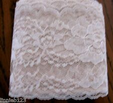 "Lace trim #444 Raschel 4"" flat NATURAL polyester scalloped edge 20 yd.bag"