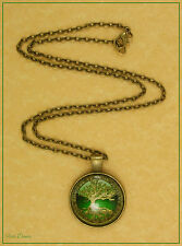 DOMED GLASS ANTIQUE BRONZE TREE OF LIFE PENDANT NECKLACE (20)