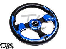 NRG STEERING WHEEL 320MM Sport Leather Steering Wheel W/ Blue Inserts ST-001BL