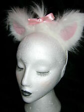 White Cat Ears With Pink Inners And Sweet Pink Bow Fancy Dress Luxury Faux Fur