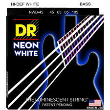 DR NWB-45 NEON HiDef WHITE COATED BASS STRINGS, MEDIUM GAUGE 4's- 45-105