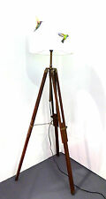 Dark Wooden Tripod Floor Lamp Base Only + Adjustable Legs FREE P&P
