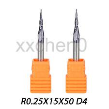 2 Pcs R0.25 D4 Carbide Tapered End Mills Ball Nose 2 Flutes HRC55 CNC Cut Tools