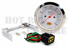 3 3/8'' Electrical Classic Tachometer 0-8000 Rpm White Face Chrome Bezel Backlit