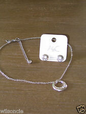 Brushed Silver Plated Rhinestone Necklace & Earrings Set by Arts & Crafts, Oslo