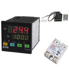 Digital PID F/C SSR Thermostat Temperature Controller PT100 Thermocouple Sensor