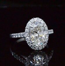 Fine 1.65 Ct Oval Cut Halo Diamond Pave Round Cut Engagement Ring 14K EGL F,SI2