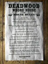 "(655) OLD WEST BROTHEL DEADWOOD WHORE HOUSE RULES AGED NOVELTY POSTER 11""x17"""