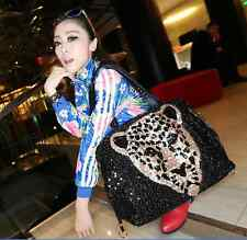 Womens shoulder bag animal printing tote black sequins rivets sequins large Q043