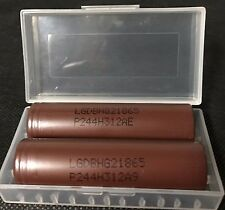 "Brand New ""2"" LG HG2 INR 18650 20A High Drain 3000mAh Rechargeable Battery, Case"