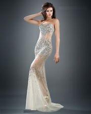 Jovani Silver Nude Strapless Beaded Bodice Prom Evening Dress Sz 8 NWT