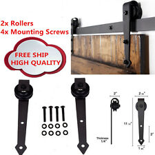 Dark Coffee Rustic Sliding Barn Door Hardware Closet Roller Kit Antique Style TR