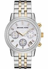 NEW MICHAEL KORS MK5057 LADIES TWO TONE MOTHER OF PEARL WATCH - 2 YEAR WARRANTY
