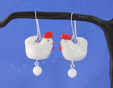 White ceramic chicken & egg earrings, silver plated hook- rooster, hen- handmade