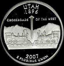 2007 S 90% Silver Utah State Quarter Deep Cameo Gem Proof No Reserve