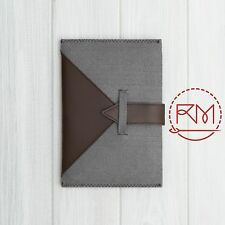 "Cover for Kobo Glo HD 6"" inch Soft Grey Felt and Brown Leather Case"