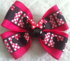 "Girls Hair Bow 4"" Wide Minnie Mouse Ribbon Pink Minnie Flatback French Barrette"