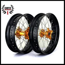 "Suzuki SUPERMOTO Wheel complete Set RMZ 250 450 Gold Hub Black Rim 17""2005/2015"