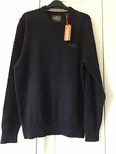 """Men's Superdry XL Navy Harlo Crew Knitted Jumper Top 42"""" BNWT RRP £44.99"""