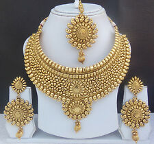 Traditional Indian Bollywood Gp Necklace Earring Tikka Set Bridal Ethnic Jewelry