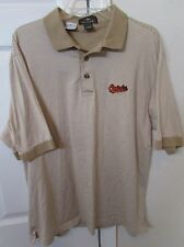 MLB Baltimore Orioles Golf Polo Shirt by Antigua Large Tan EUC