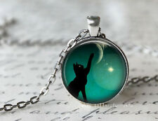 New Cat Touching the moon Cabochon Silver plated Glass Chain Pendant Necklace