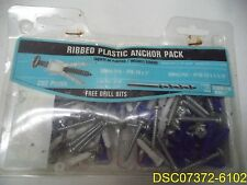 Crown Bolt Ribbed Plastic Anchor Pack w/ Screws & Drill Bits 202 piece
