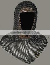 chain-mail coif black butted medieval armour chainmail hood reenctment v-neck