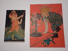 Two Antique Puzzles Girl w/Doll/Phone/Christmas List 12x9 Boy w/Hat/Fishing 10x7