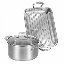 NEW SCANPAN IMPACT ROASTING PAN WITH RACK AND DUTCH OVEN SET 2 KITCHEN COOKWARE