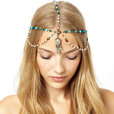 Vogue Gold Tone Crystal Beads Dangle Head Chain Forehead Hair Band Headband