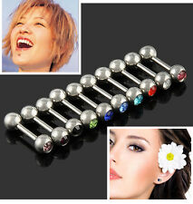 lots 10pcs Crystal Ball Tongue Bar Ring Barbell Body Piercing jewelry mix colors