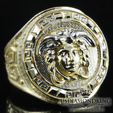 Men's New 10k 100%  Real Solid Yellow Gold Greek Medusa Head Ring Size 10 4.5g