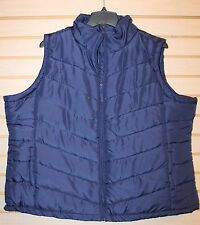 NEW WOMENS PLUS SIZE 4X ALL NAVY BLUE ZIP UP WINTER SLEEVELESS PUFFER VEST