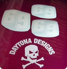NUMBER 69 RACE FAIRING PANEL SEAT CUSTOM SET OF DECALS STICKERS GRAPHICS