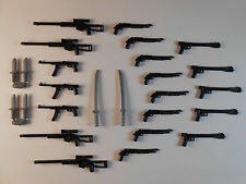 Guns for Lego Minifigures. Lot of 26 New!! Star Wars Lightsabers Weapons Knifes