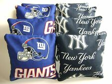 NEW YORK YANKEES & GIANTS CORNHOLE BEAN BAGS SET OF 8 TOP QUALITY TOSS GAME