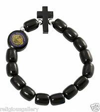 Mens St. Saint Benedict Medal Black Wood Beads Rosary Bracelet with Crucifix New