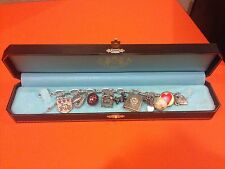 Authentic Juicy Couture Banner Heart Gold Charm Bracelet with 10 Charms